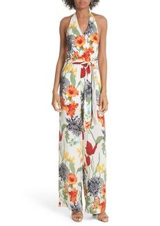 Alice + Olivia Cyprus Halter Top Floral Jumpsuit