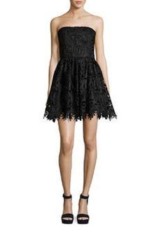 Alice + Olivia Daisy Strapless Lace Party Dress