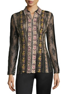 Alice + Olivia Dalia Embroidered Fitted Hook-Eye Shirt