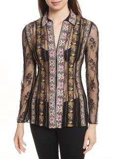 Alice + Olivia Dalia Embroidered Lace Shirt