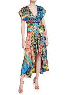 Alice + Olivia Dani Cap-Sleeve Ruffle Kimono Dress