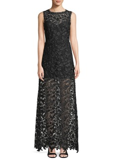 Alice + Olivia Danielle Floral Lace Sleeveless Maxi Dress