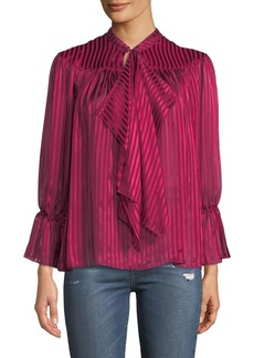 Alice + Olivia Danika Gathered Tie-Neck Blouse