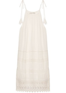 Alice + Olivia Danna lace-trimmed crepon mini dress