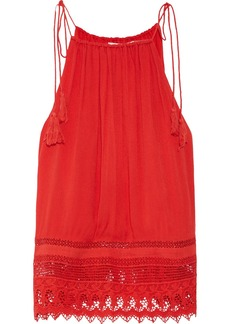 Alice + Olivia Danya lace-trimmed crepon camisole