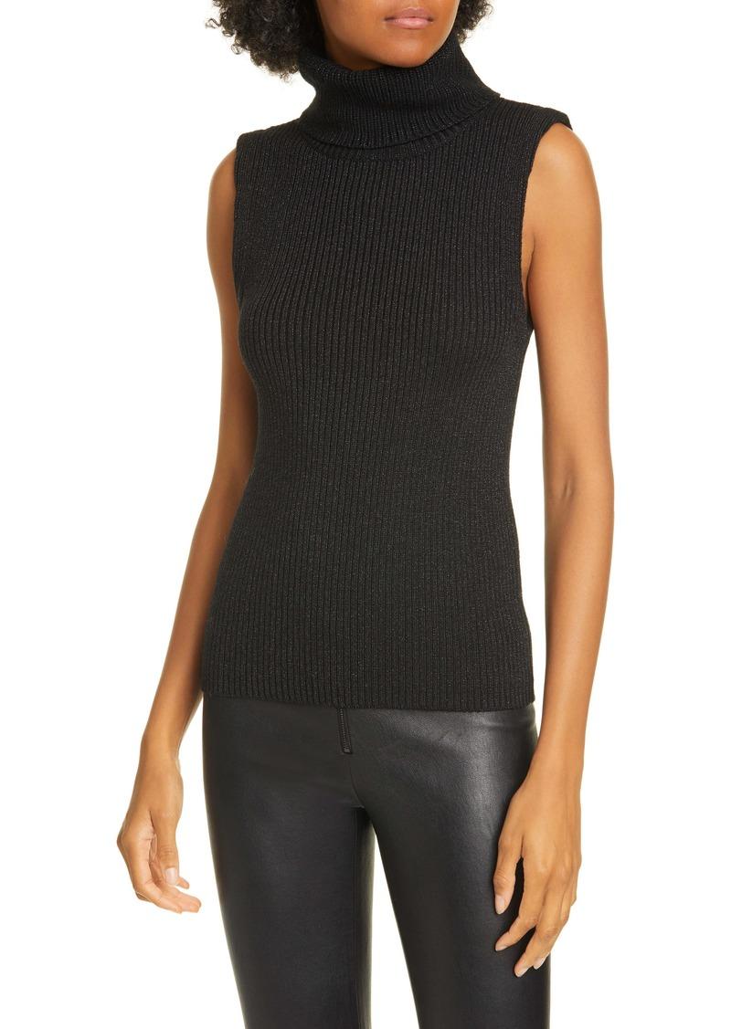 Alice + Olivia Darcey Metallic Wool Blend Turtleneck Sweater Tank