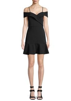 Alice + Olivia Dash Cold-Shoulder Faux-Wrap Flounce Dress