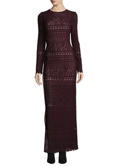 Alice + Olivia Dawna Long-Sleeve High Side-Slit Lace Maxi Dress