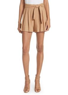 Alice + Olivia Dawson Flutter Tie Waist Linen Blend Shorts