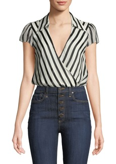Alice + Olivia Dayer Collared Short-Sleeve Wrap Top