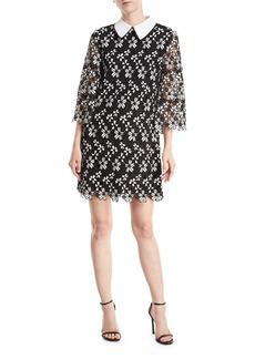 Alice + Olivia Debra Collared Lace-Guipure Tunic Dress