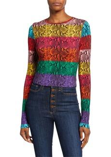 Alice + Olivia Delaina Colorblock Snake-Print Crewneck Long-Sleeve Crop Top