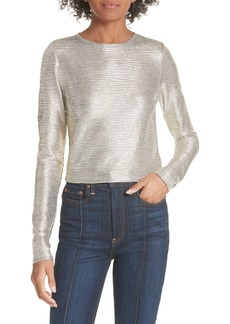 Alice + Olivia Delaina Silver Long Sleeve Crop Top