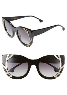 Alice + Olivia Delancey Crystal 50mm Cat Eye Sunglasses