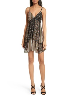 Alice + Olivia Delilah Tiered Print Stretch Silk Dress