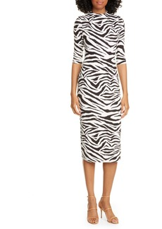 Alice + Olivia Delora Animal Print Mock Neck Dress