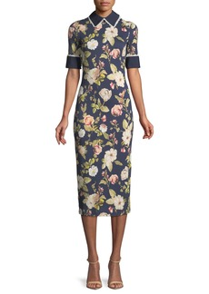 Alice + Olivia Delora Collared Floral-Print Sheath Dress