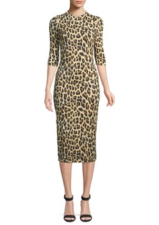 Alice + Olivia Delora Fitted Leopard Mock-Neck Dress