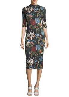 Alice + Olivia Delora Floral-Print Fitted Mock-Neck Midi Dress