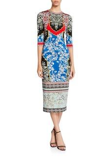 Alice + Olivia Delora Printed Crewneck 3/4-Sleeve Fitted Midi Dress