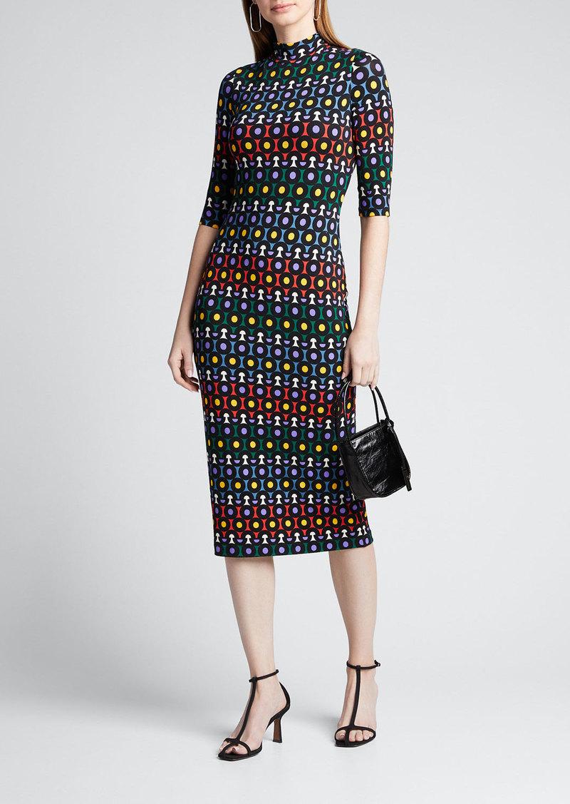 Alice + Olivia Delora Printed Mock-Neck Elbow-Sleeve Fitted Midi Dress