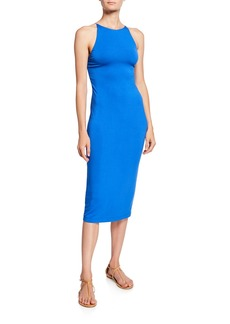 Alice + Olivia Delora Spaghetti Strap Fitted Midi Dress