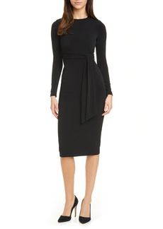 Alice + Olivia Delora Tie Waist Long Sleeve Body-Con Dress