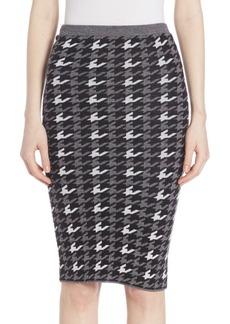 Alice + Olivia Delphie Wool Houndstooth Skirt