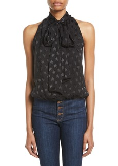 Alice + Olivia Delphine Star Tie-Neck Gathered Top
