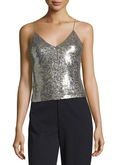Alice + Olivia Delray Embellished Sequin Tank with Back-Zip