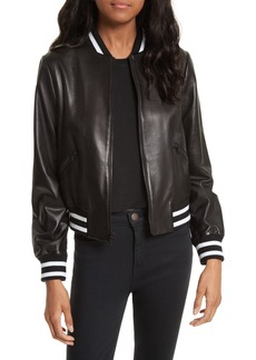 Alice + Olivia Demia Embellished Crop Leather Bomber Jacket