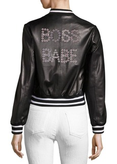 Alice + Olivia Demia Embellished Leather Bomber Jacket