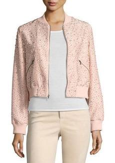 Alice + Olivia Demia Embellished Silk Cropped Bomber Jacket