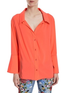 Alice + Olivia Denver Open-Neck Button-Front Oversized Blouse