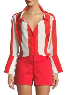 Alice + Olivia Denver Open-Neck Silk Button-Front Oversized Blouse