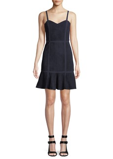 Alice + Olivia Desmond Sweetheart-Neck Fit-and-Flare Suede Dress