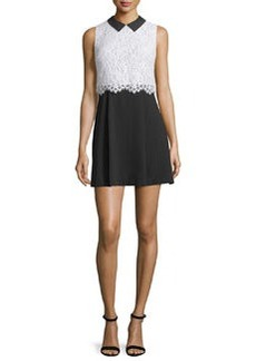 Alice + Olivia Desra Sleeveless Lace & Crepe Dress