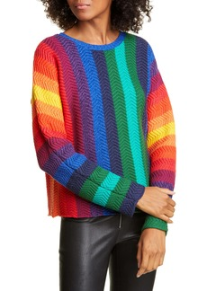 Alice + Olivia Dessie Stripe Racked Wool Blend Sweater