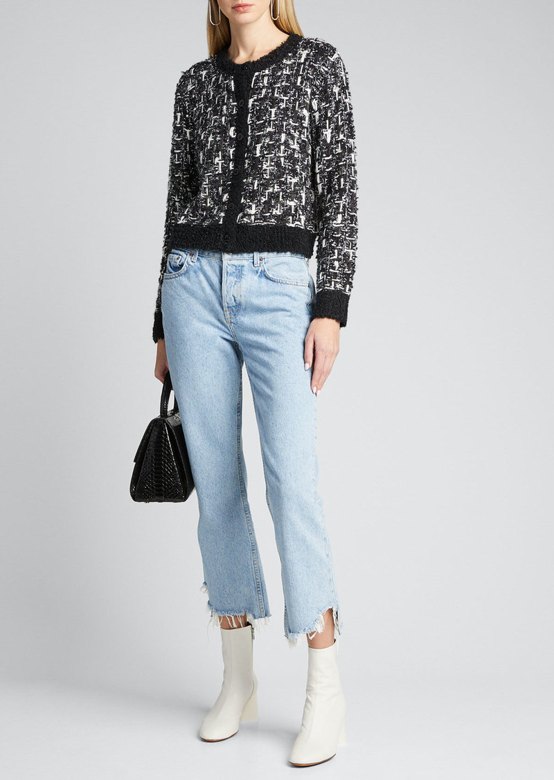 Alice + Olivia Devona Tweed Crewneck Cardigan