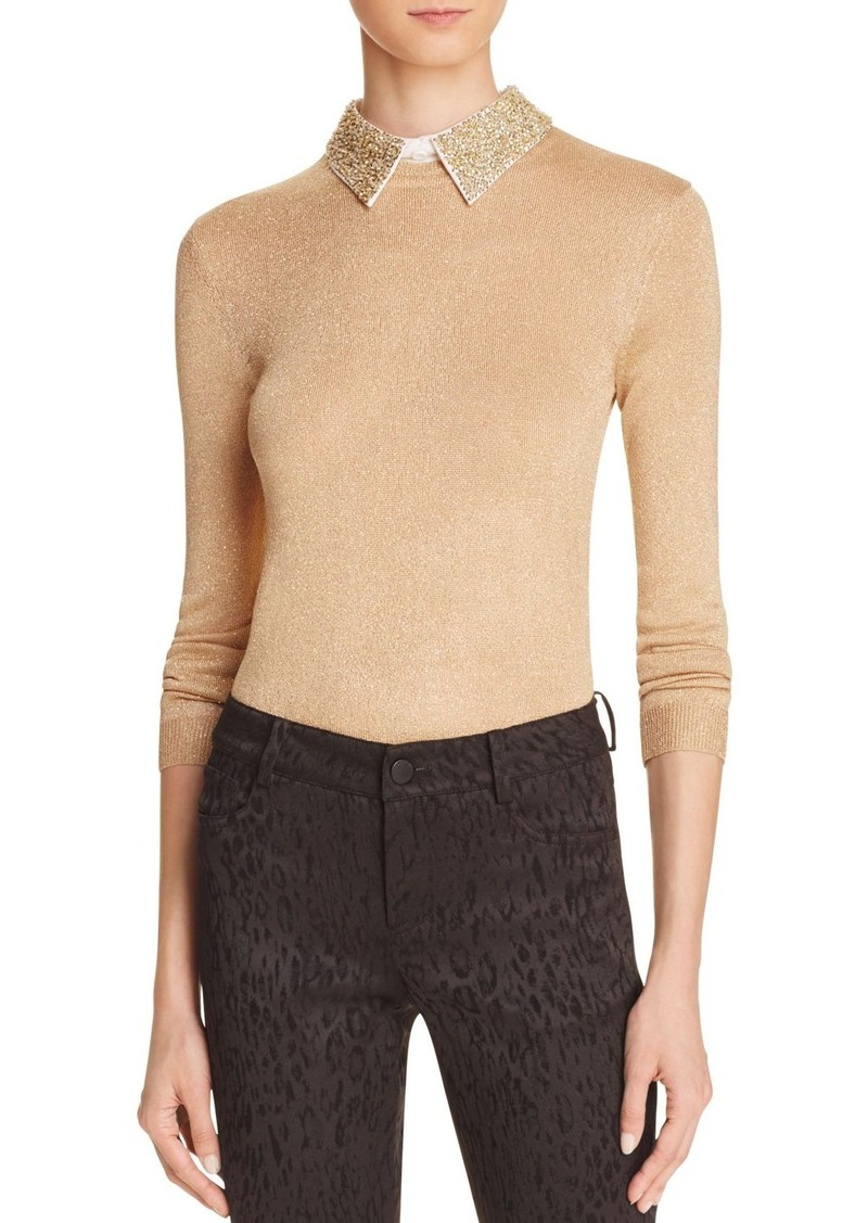 Alice + Olivia Dia Beaded Collar Metallic Sweater