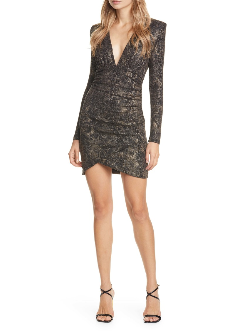 Alice + Olivia Diaz Plunge Neck Ruched Long Sleeve Minidress