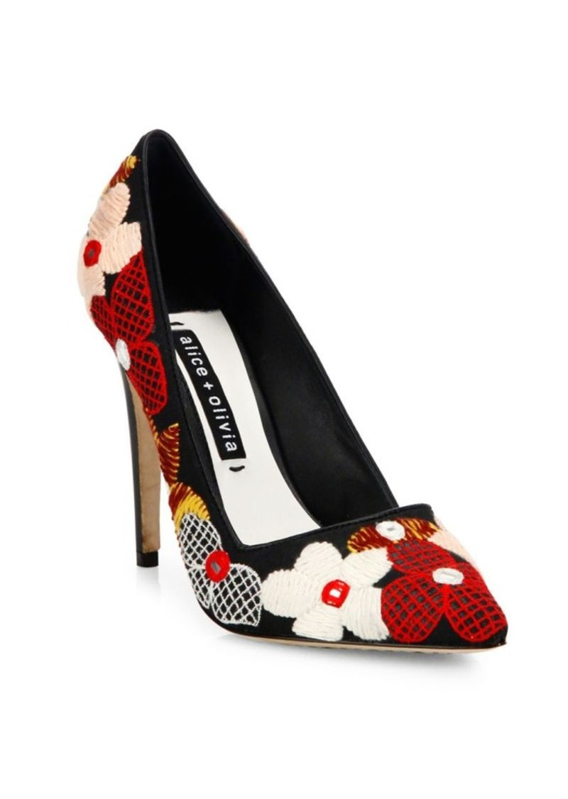 Alice + Olivia Dina Floral Embroidered Pumps