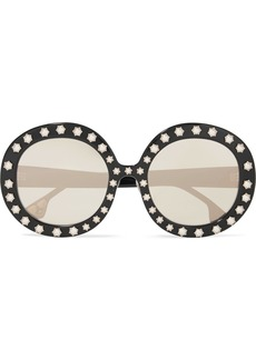 Alice + Olivia Bel Air Swarovski pearl-embellished round-frame acetate sunglasses