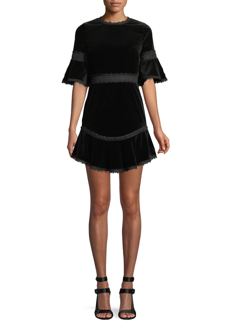 Alice + Olivia Doloris Velvet Trumpet-Sleeve Dress w/ Lace Trim