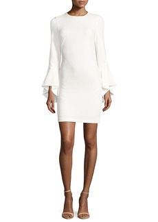 Alice + Olivia Dora Fitted Trumpet-Sleeve Cocktail Dress
