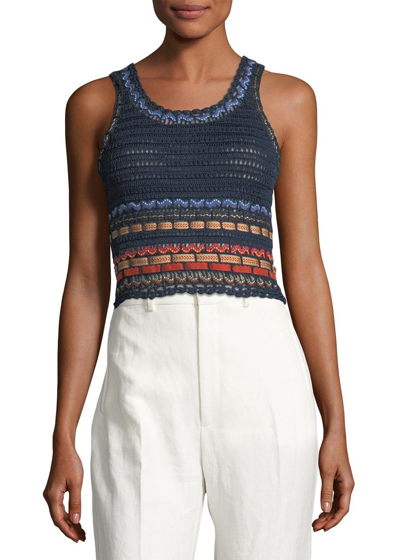 Alice + Olivia Dorian Cropped Woven Tank Top