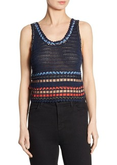 Alice + Olivia Dorian Ribbon Cropped Tank Top