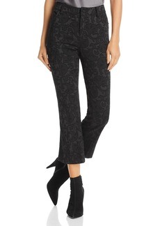 Alice + Olivia Drew Flocked Cropped Flared Jeans in Black