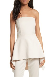 Alice + Olivia Duncan Strapless High/Low Peplum Top