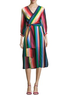 Alice + Olivia Dyanna Striped Midi Wrap Dress